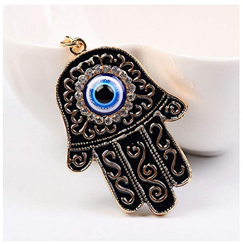 Womens Mens Hand Evil Eye Lucky Charm Amulet Hamsa Hand Keychains Bag Pendant Keychains Key Ring Key Holder for Women Girls ()