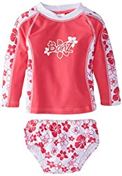 Baby Banz Baby Girls\' Long Sleeve Rash Top and Swim Diaper Set, Pink Floral, 12 18 Months