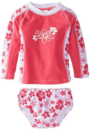Baby Banz Baby Girls' Long Sleeve Rash Top and Swim Diaper Set, Pink Floral, 12 18 - Banz Pink Baby