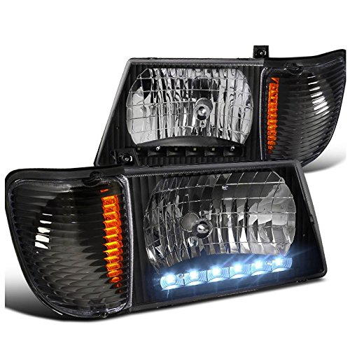 (FORD 92-06 BLACK ECONOLINE VAN LED HEADLIGHT w/CORNER LAMPS E250 E350)