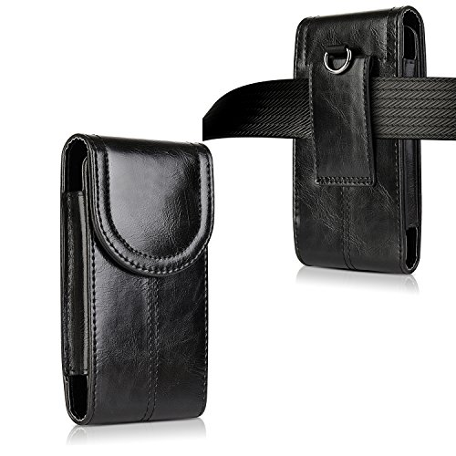 iPhone 8 Plus 7 Plus 6S Plus Belt Holster,kiwitatá Vertical Premium Leather Belt Pouch Carrying Case [Belt Loop] Crazy Horse for Galaxy S7 S6 LG G5 Black by kiwitatá