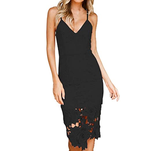 Minisoya Summer Women Lace Dress Ladies Deep V Bodycon Backless Club  Cocktail Evening Party Midi Sling a05a7286e