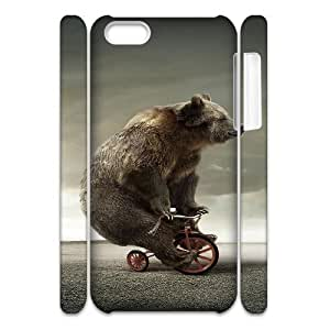 3D IPhone 5C Cases Funny Tricycle Bear, Men Cool Funny Animals Cases Pharrel, {White}