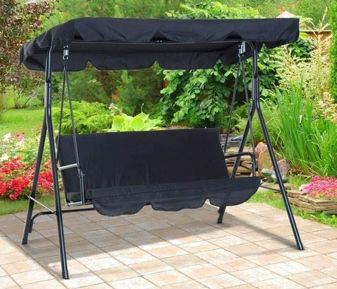 Summer Decor- Outdoor Bench Swing-Outdoor Swing Canopy- Black Polyester Cloth Steel Pipe Frame with Cushions Three Seater - Feel Relaxed Everytime in Your Patio
