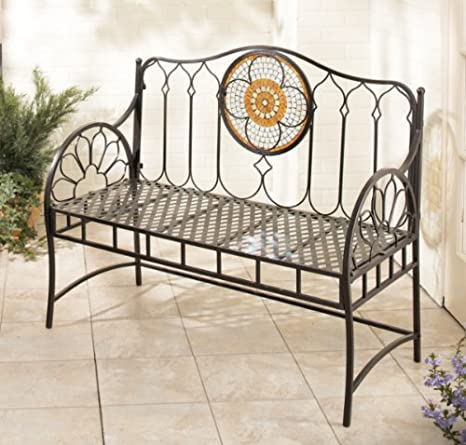 Sensational Amazon Com Casa Style Mexican Spanish Iron Garden Bench W Camellatalisay Diy Chair Ideas Camellatalisaycom