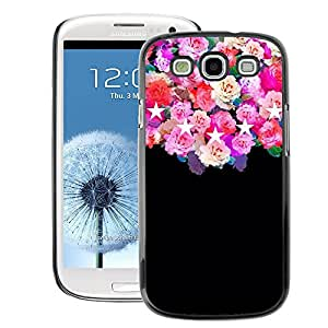 A-type Arte & diseño plástico duro Fundas Cover Cubre Hard Case Cover para Samsung Galaxy S3 (Roses Black Stars Pink Floral Flowers)