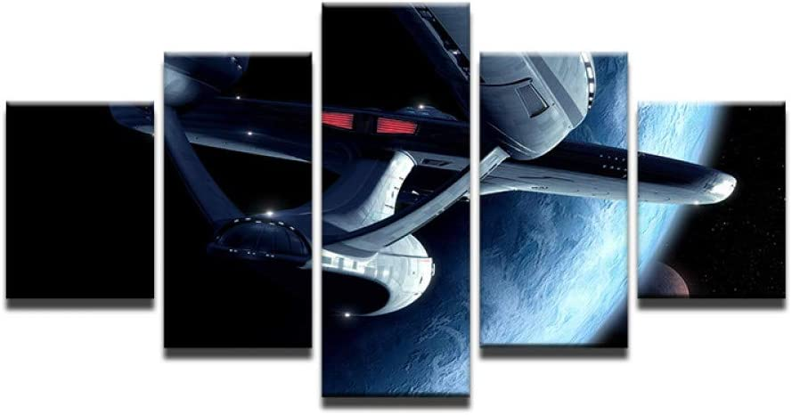HIOJDWA Paintings Wall Modular Picture Poster Photo 5 Panel Star Trek Prints Painting Modern Art for Living Room Home Decoration Canvas