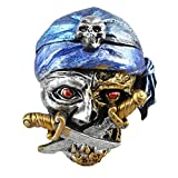 BESTOYARD Halloween Decor Creative Skull Pattern Resin Ashtray Home Ornament Scary Bar Smoking Room Decor (Blue)