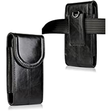 iPhone 8 Plus 7 Plus 6S Plus Belt Holster,kiwitatá Vertical Premium Leather Belt Pouch Carrying Case [Belt Loop] Crazy Horse for Galaxy S7 S6 iPhone XS Max Black