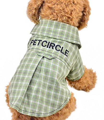 Freerun Fashion Cute Hot Dog Cat T-Shirt Plaid Lapel Grid Pet Dog Cotton Clothes Apparel - Green, L