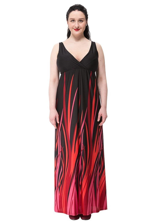 Missfox damen sommerkleid v ausschnitt rmellose cocktail party strand boho lang maxi kleider l - Sommerkleid v ausschnitt ...