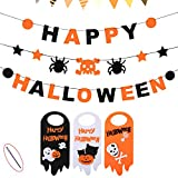 Happy Halloween Banner Set + Door Hanger, 3 PCS Skull Spider Happy Halloween Felt Bunting Garland Decoration Prop, 3 Pumpkin Welcome Door Hanging Sign, Indoor House Decor Kids Party Supplies