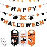 Happy Halloween Banner Set + Door Hanger, 3 PCS Skull Spider Happy Halloween Felt Bunting Garland Decoration Prop, 3 Pumpkin Welcome Door Hanging Sign, Indoor House Decor Kids Party Supplies