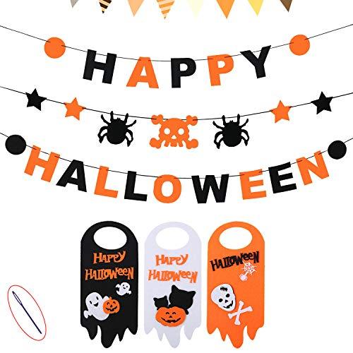 Happy Halloween Banner Set + Door Hanger, 3 PCS Skull Spider Happy Halloween Felt Bunting Garland Decoration Prop, 3 Pumpkin Welcome Door Hanging Sign, Indoor House Decor Kids Party Supplies by Monadicase