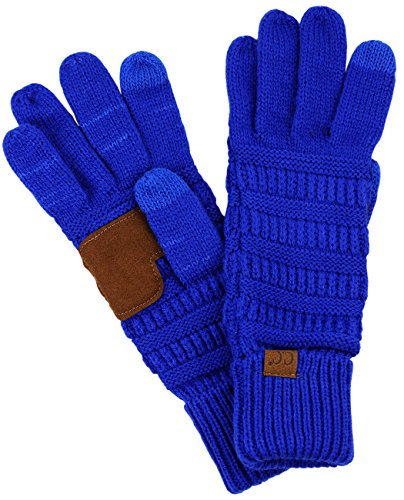 (C.C Unisex Cable Knit Winter Warm Anti-Slip Touchscreen Texting Gloves, Royal)