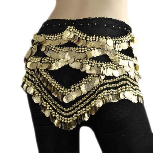 Dance Costumes Hip Scarf Coin (BellyLady Belly Dance Hip Scarf, Gold Coins Belly Dance Costume Skirt Wrap Belt)