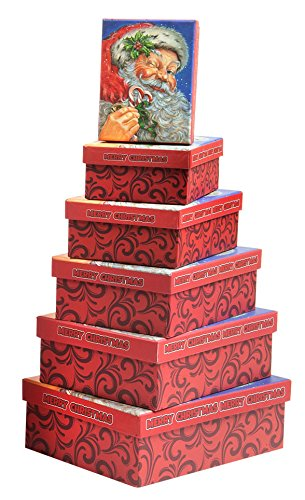 6 Piece Nesting Christmas Holiday Boxes Set with Santa Claus Merry Xmas - Great for Wrapping Presents or as a Decoration (Rectangle Box)