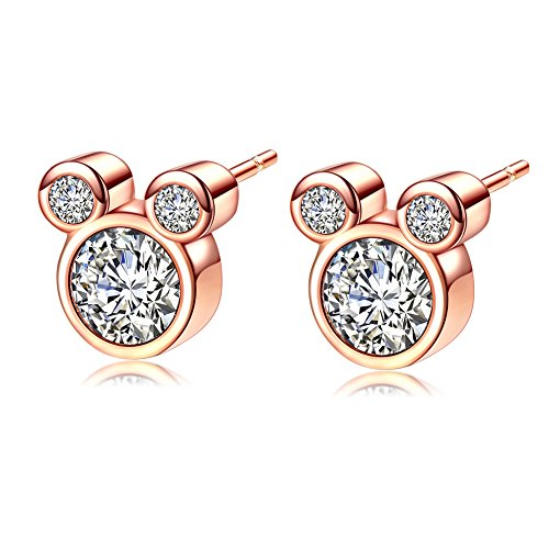 ERLUER Women's Stud Earrings Mickey Shape Rose Gold Plated Zircon Jewelry Earring For Girls Party Gifts (Rose Gold Plated)
