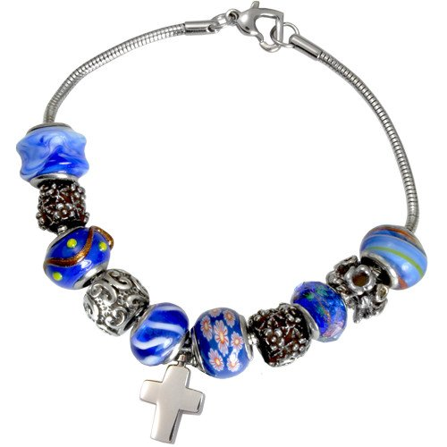 Memorial Gallery Nightfall Blue Remembrance Bead Pet Cross Urn Charm Bracelet, 9'' by Memorial Gallery