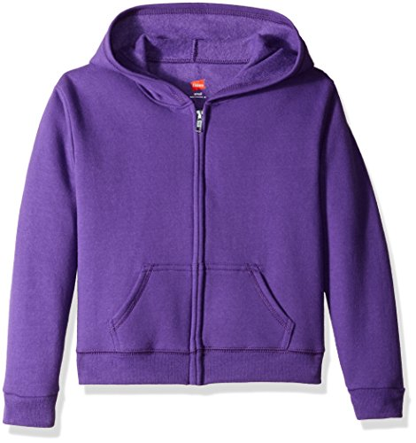 Front Only Kids Sweatshirts - Hanes Girls' Big Girls' Comfortsoft Ecosmart Full-Zip Fleece Hoodie, Purple Thora, S