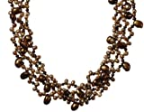 Gold-Filled Dyed Chocolate Freshwater Cultured Pearl Necklace, 17""