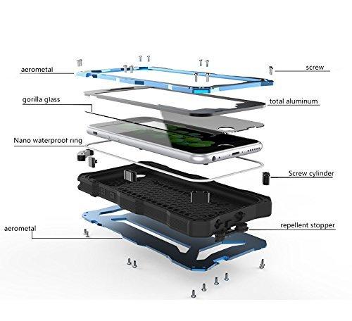 r-just Wasserdicht Stoßfest Metall Aluminium Gorilla Glas für Apple iPhone 6/6S 11,9cm schwarz