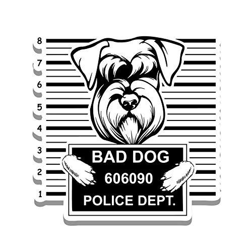More Shiz Bad Dog Schnauzer Jail Funny Cute Vinyl Decal Sticker - Car Truck Van SUV Window Wall Cup Laptop - One 5.25 Inch Decal - MKS0861 ()
