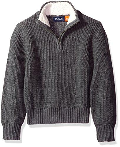 The Children's Place Big Boys' Mock Neck 1/2 Zip Sweater, Dark Gray, - Neck Zip Mock 1/2