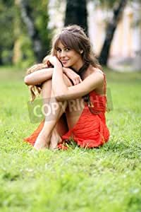 Cute Young female lying on grass Field at the Park (7658488), lino, 50 x 80 cm