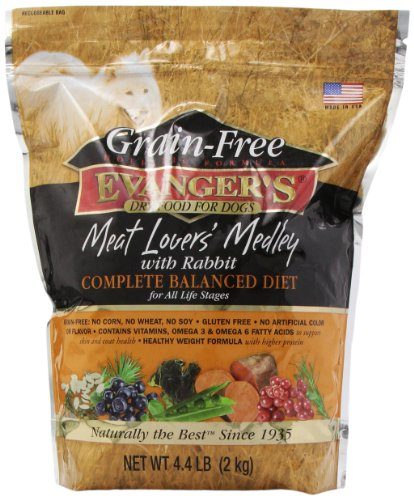 Evangers Grain Free Meat Lover's Medley with Rabbit Dry Dog Food, 4.4-pound