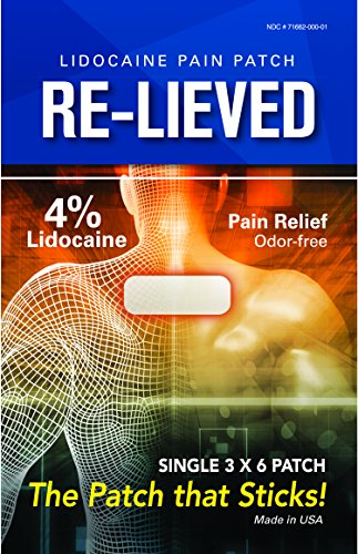 Re-Lieved 4% Maximum Strength Lidocaine Pain Relief Patch with Superior Adhesive that keeps Patch Stuck (5) - Maximum Strength Arthritis Pain Relief