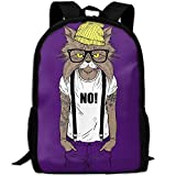 Cat No Hat Glasses Double Shoulder Backpacks For Adults Traveling Bags Full Print Fashion