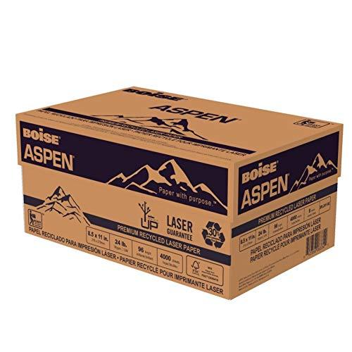 BOISE ASPEN Premium 30% Recycled Laser Paper, 8.5 x 11, 96 Bright White, 24 lb, 8 ream carton (4000 Sheets)