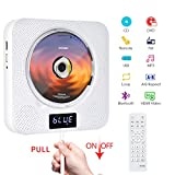 Portable Bluetooth DVD/CD Player, Wall Mountable CD DVD Player HDMI Built-in HiFi Speakers with Remote for TV, Music Player Support FM Radio USB Playing for Home