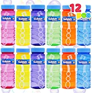 JOYIN 12 4oz Bubble Bottles with Wand Assortment for Kids, Bubble Blower for Bubble Blaster Party Favors, Summ