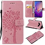 Ostop Wallet Case for Samsung Galaxy S10e,Pink PU Leather Case,Cute Cat Tree Butterfly Design Women Girls Stylish Case Slim Thin Flip Cover Purse with Card Slots Stand Holder Cash Pocket
