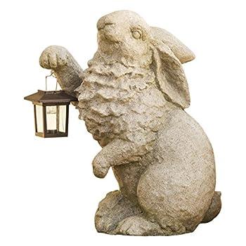 Plow & Hearth Rabbit with Solar Lantern Garden Resin Sculpture 13 L x 7¾ W x 16¼ H