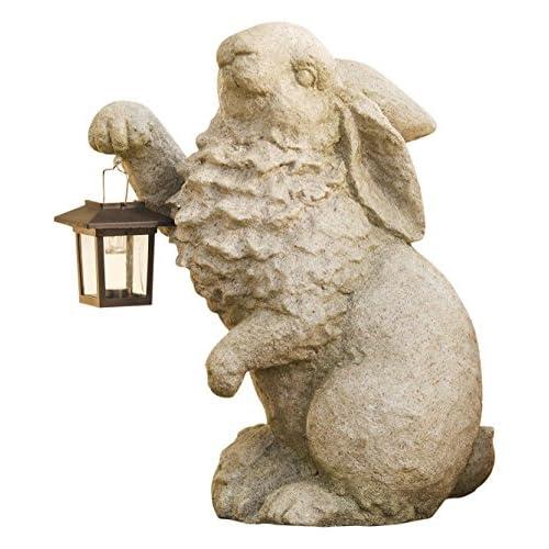 Plow & Hearth Rabbit with Solar Lantern Garden Resin Sculpture