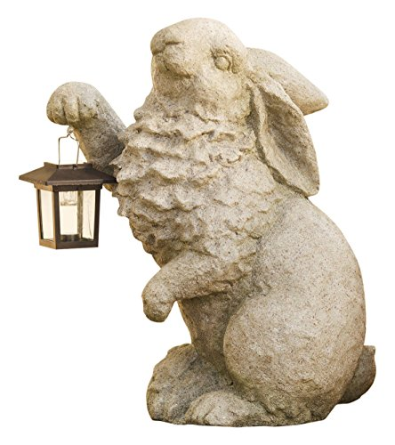 Cement Garden Sculpture - Plow & Hearth Rabbit with Solar Lantern Garden Resin Sculpture 13 L x 7¾ W x 16¼ H