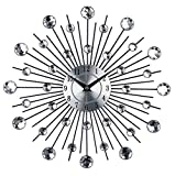 ZBJJ Vintage Metal Art Crystal Sunburst Wall Clock Luxury Diamond Large Morden Wall Clock Clock Design Home Decor