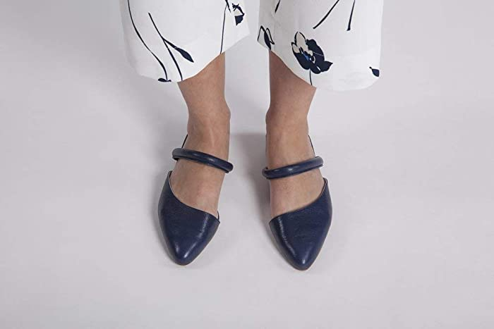 f49626de040fb Extra Soft Italian Leather in Navy Blue Color, Flat Mules Featuring Slip On  Style, Women's Designer Handmade Footwear