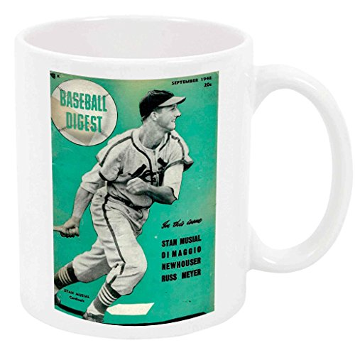 Stan Musial - 15 Ounce Coffee or Tea Mug, White Ceramic, Classic Vintage Baseball, Unique Special Present or Gift Idea ()