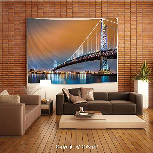 PUTIEN Natural Luxury Tapestry,Ben Franklin Bridge and Philadelphia Skyline Viewed from Camden Across The Delaware River Decorative,Tapestry Art Print Tapestry for Room]()