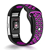 For Fitbit Charge 2 Bands, Humenn Replacement Accessory Sport Band for Fitbit Charge 2 HR (#01, Black/Purple, Small)