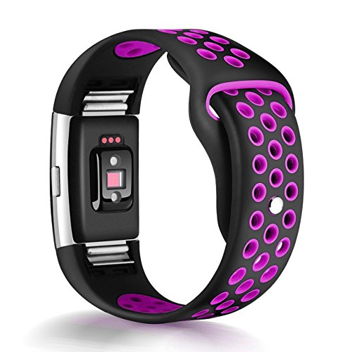 Bands, Humenn Replacement Accessory Sport Band for Fitbit Charge 2 HR (#01, Black/Purple, Small) (1 Row Replacement)
