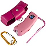Stun Gun w/Flashlight, Panic Alarm, Rechargeable Internal Battery, Safety Pin, Wrist Strap, Carabiner & Clip-on Carry Case. Includes Quick Set-up and ''How To'' Guides. (Shocking Pink)