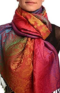 Large Ombre Paisley & Diamond On Burgundy Pashmina Feel With Tassels - Scarf