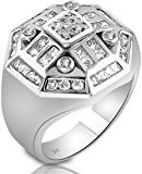 Mens Sterling Silver .925 Designer Octagon Ring Featuring 52 Round Square and Baguette Cubic Zirconia (CZ) Stones