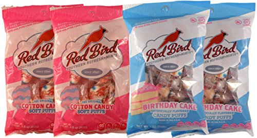 Red Bird Soft Puffs Multipack of 4 4Oz Bags (2 Cotton Candy and 2 Birthday (Bird Birthday)