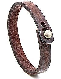 Handmade Unisex Genuine Leather Bracelet, Adjustable Cuff Wristband,Punk Leather Wrap